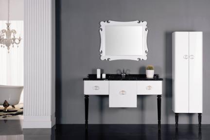 ארונות אמבטיה יוקרתיים סגנון ענתיקה 6534. ארון לבן + רגליים שחורות ללא מראה.  גודל: 136*51.  מחיר: 3861 ש״ח
