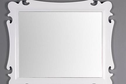 MR534. מראה ענתיקה לבן מבריק.  גודל: 75*100.