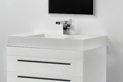 ארונות אמבטיה לאחסון  6800. ארון לבן מבריק + כיור אקרילי.  גודל: 48*80.