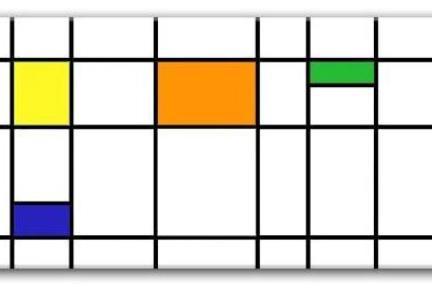 אריחים דקורטיבים גאומטרים P181. דקור כתום-צהוב-כחול-ירוק מבריק.  גודל: 30*60.