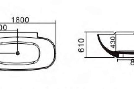 אמבטיה פרי סטנדינג BT1004. אמבטיה אבן מלאכותית כמו מפל.  גודל: 90*180.