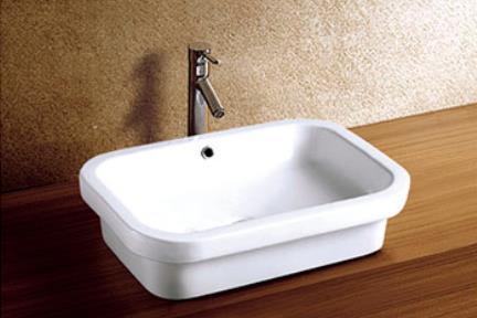 """כיור אמבטיה חצי שולחני L605. כיור מונח.  גודל: 41.5*60.5 ס""""מ.  גובה: 15.5 ס""""מ."""