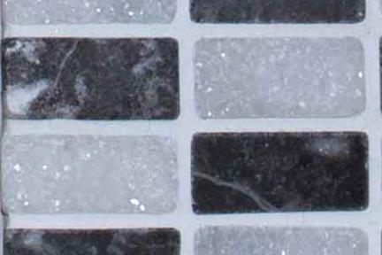 אריחי פסיפס לחיפוי קיר מאבן 3475. גודל 30*30  מלבנים אבן שחור-לבן.