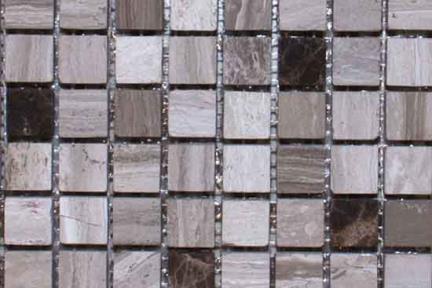 אריחי פסיפס לחיפוי קיר מאבן 3667-1. גודל: 30*30  פסיפס 1.5 מעורב חום.