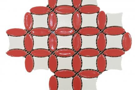 אריחי פסיפס לחיפוי קיר מקרמיקה 3151. פסיפס אליפסות אדום- מרכז לבן  דגם 23.5*23.5