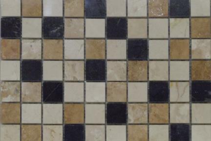 אריחי פסיפס לחיפוי קיר מאבן 3658. פסיפס בז מבריק + צבעים מעורבים.  גודל: 30*30