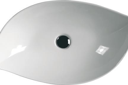 כיור מונח לחדר אמבטיה 7031. כיור על דמוי עלה - לבן.  גודל: 38*65  מחיר: 1053 ש״ח