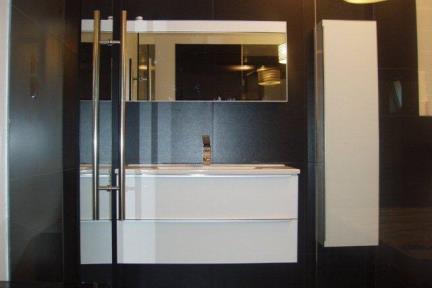 קיר זכוכית המחבר בין יחידת הורים לאמבטיה