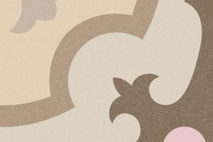 אריחי ריצוף וינטג' מצויר C811-140. דקור ענתיקה בז'-ורוד, 20*20