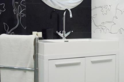 ארונות אמבטיה לאחסון  6801. ארון לבן רצפתי + כיור אקרילי, גודל 48/80