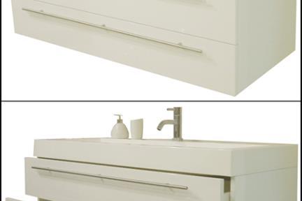 ארונות אמבטיה לאחסון  6281. ארון לבן 2 מגירות + כיור אקרילי, גודל 51/124