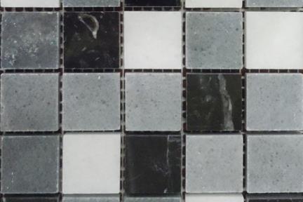 3693. פסיפס אבן אפור שחור מלוטש 3*3, גודל: 25/25