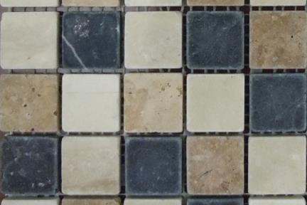 אריחי פסיפס לחיפוי קיר מאבן 3689. פסיפס אבן 3*3, מעורב, גודל: 25/25