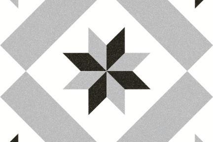 אריחי ריצוף וינטג' מצויר C812. דקור גאומטרי אפור מרכז.  גודל: 20*20.