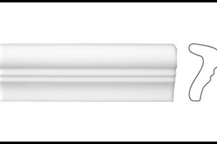 """פרופיל  לגימור 15 ס""""מ 1534. קרניז לבן מבריק,  5X15"""