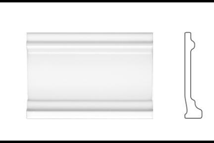 """פרופיל  לגימור 15 ס""""מ 1535. סוקל לבן מבריק, 10X15"""