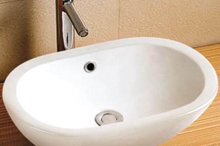 כיור מונח לחדר אמבטיה L504. כיור על אובלי לבן   גודל:  50/30.5