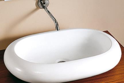 כיור מונח לחדר אמבטיה L630. כיור על אובלי לבן   גודל:  63.5/42.5