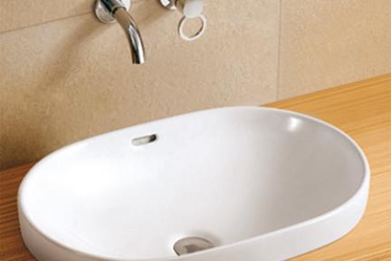 כיור מונח לחדר אמבטיה L591. כיור אובלי חצי בפנים  גודל: 60/40