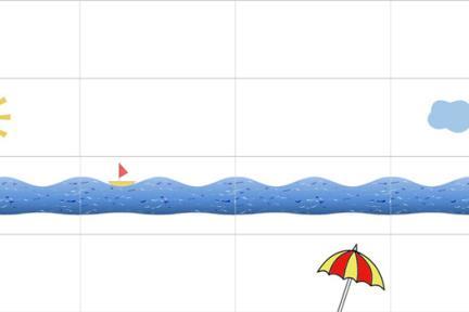 אריחים לאמבטיה ילדים. שמש, גלי ים, עננים, שמשיה וסירה   לאריח לבן מבריק  גודל כל אריח: 30/60