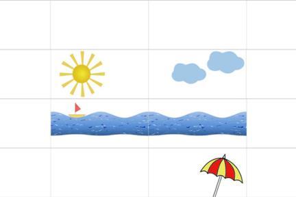 אריחים לאמבטיה ילדים. שמש, גלי ים, שמשיה, סירה ועננים  לאריח לבן מבריק  גודל כל אריח: 30/60