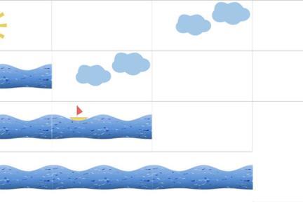 אריחים לאמבטיה ילדים. שמש, גלים, שמשיה, עננים, סירה  לאריח לבן מבריק  גודל כל אריח: 30/60
