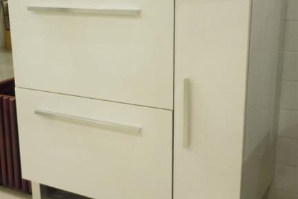 ארונות אמבטיה לאחסון  6871-1. ארון לבן עם כיור חרס   גודל: 46/80