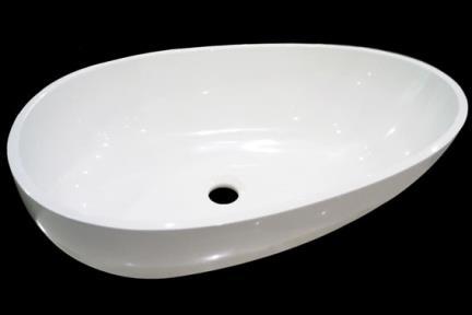 כיור רזינה לאמבטיה L620GL1. כיור על ביצה, לבן מבריק  אבן מלאכותית  גודל: 40/62