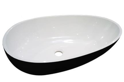 כיור רזינה לאמבטיה  L620GL9. כיור על ביצה, שחור מבריק  אבן מלאכותית  גודל: 40/62
