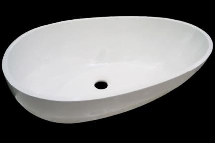 כיור רזינה לאמבטיה L620MT1. כיור על ביצה, לבן מט  אבן מלאכותית   גודל: 40/62