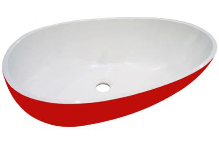 כיור רזינה לאמבטיה  L620MT7. כיור על ביצה, אדום מט   אבן מלאכותית   גודל: 40/62