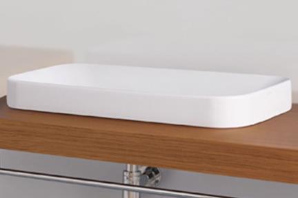 כיור מונח לחדר אמבטיה  B7008. כיור על חצי בפנים  לבן מבריק   גודל: 75.5/40.5