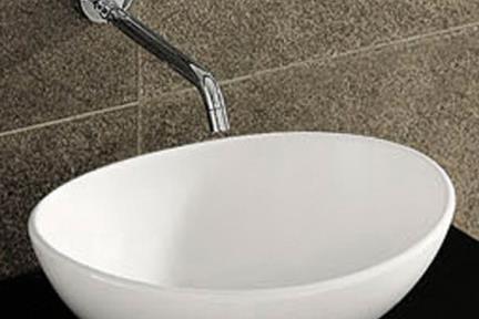 כיור מונח לחדר אמבטיה L410. כיור על קערה  לבן מבריק  גודל: 33.5/41