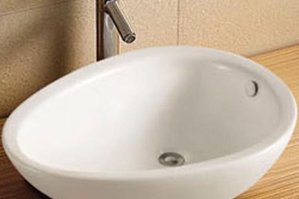 כיור מונח לחדר אמבטיה L650. כיור על ביצה  לבן מבריק  גודל: 38/65