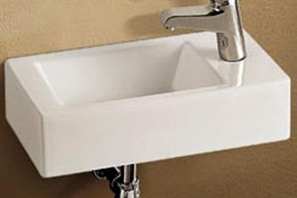 כיור ידיים לחדר השרותים L454. כיור שירותים מלבני לקיר  לבן מבריק   גודל: 26/45