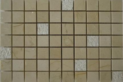 אריחי פסיפס לחיפוי קיר מאבן 3663. פסיפס מרפיל+ אבן   גודל 30*30