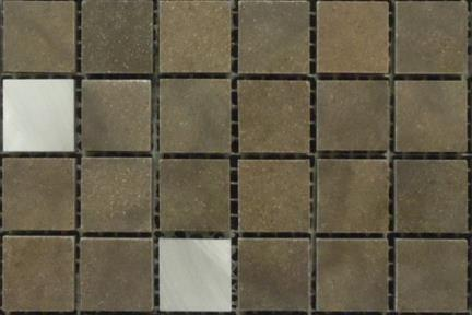 אריחי פסיפס לחיפוי קיר מאבן 3713. פסיפס אבן חומה + אלומיניום   גודל 25*25