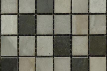 אריחי פסיפס לחיפוי קיר מאבן 3715. פסיפס אבן אפור-שחור + אלומיניום   גודל 25*25
