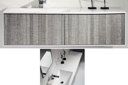 ארונות אמבטיה לאחסון  6131-5. ארון אפור מבריק   + כיור עם משטח מימין  גודל:  52.2/131