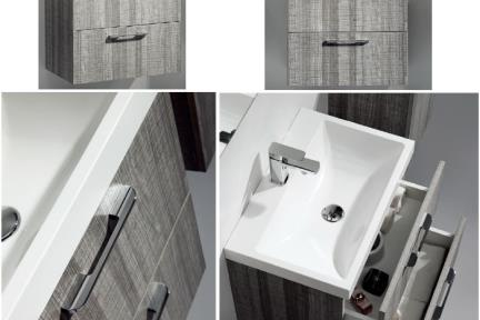 ארונות אמבטיה לאחסון   6600-15. ארון אפור מט   + כיור אקרילי  גודל:  40/60