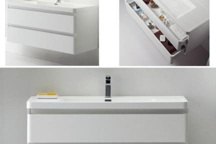 ארונות אמבטיה לאחסון   6285. ארון 2 מגירות  + כיור אקרילי  גודל:  48/120