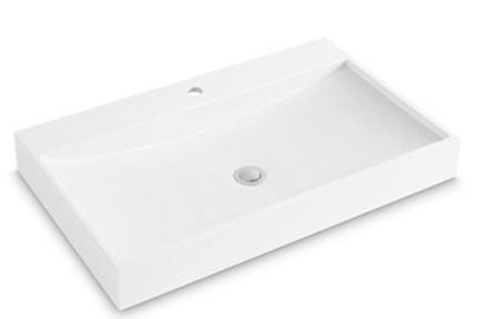 כיור רזינה לאמבטיה L802MT1. כיור מונח- אבן מלאכותית לבן מט  גודל: 50*80, גובה: 10