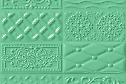 אריחי וינטג' לחיפוי קיר מסדרת Castello C526. דקור תבליט מעורב ירוק.  גודל 20*10.