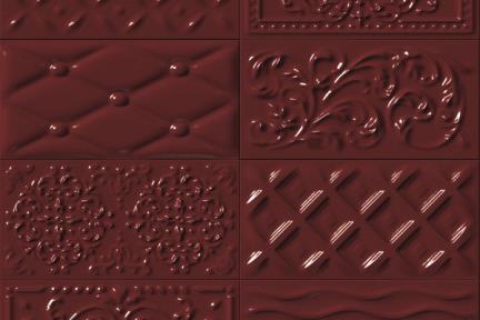 אריחי וינטג' לחיפוי קיר מסדרת Castello C527. דקור תבליט מעורב בורדו.  גודל 20*10.