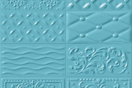 אריחי וינטג' לחיפוי קיר מסדרת Castello C524. דקור תבליט מעורב תכלת.  גודל 20*10.