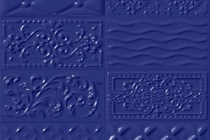 אריחי וינטג' לחיפוי קיר מסדרת Castello C528. דקור תבליט מעורב כחול כהה.  גודל 20*10.