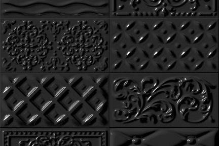 אריחי וינטג' לחיפוי קיר מסדרת Castello C529. דקור תבליט מעורב שחור.  גודל 20*10.
