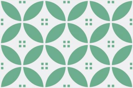 אריחי וינטג' לחיפוי קיר מסדרת Castello C516. דקור גאומטרי ירוק.  גודל 20*10.