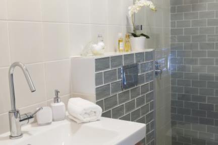 בית בניחוח כפרי. מקלחת הורים   צילום: אורית אלפסי.