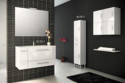 דגמים 6170-1 + 6175-1. דגם 6170-1 :ארון לבן עם כיור חרס.  גודל: 46*100.  דגם 6175-1 :ארון שרות לבן מבריק.  גודל 175*32*40.
